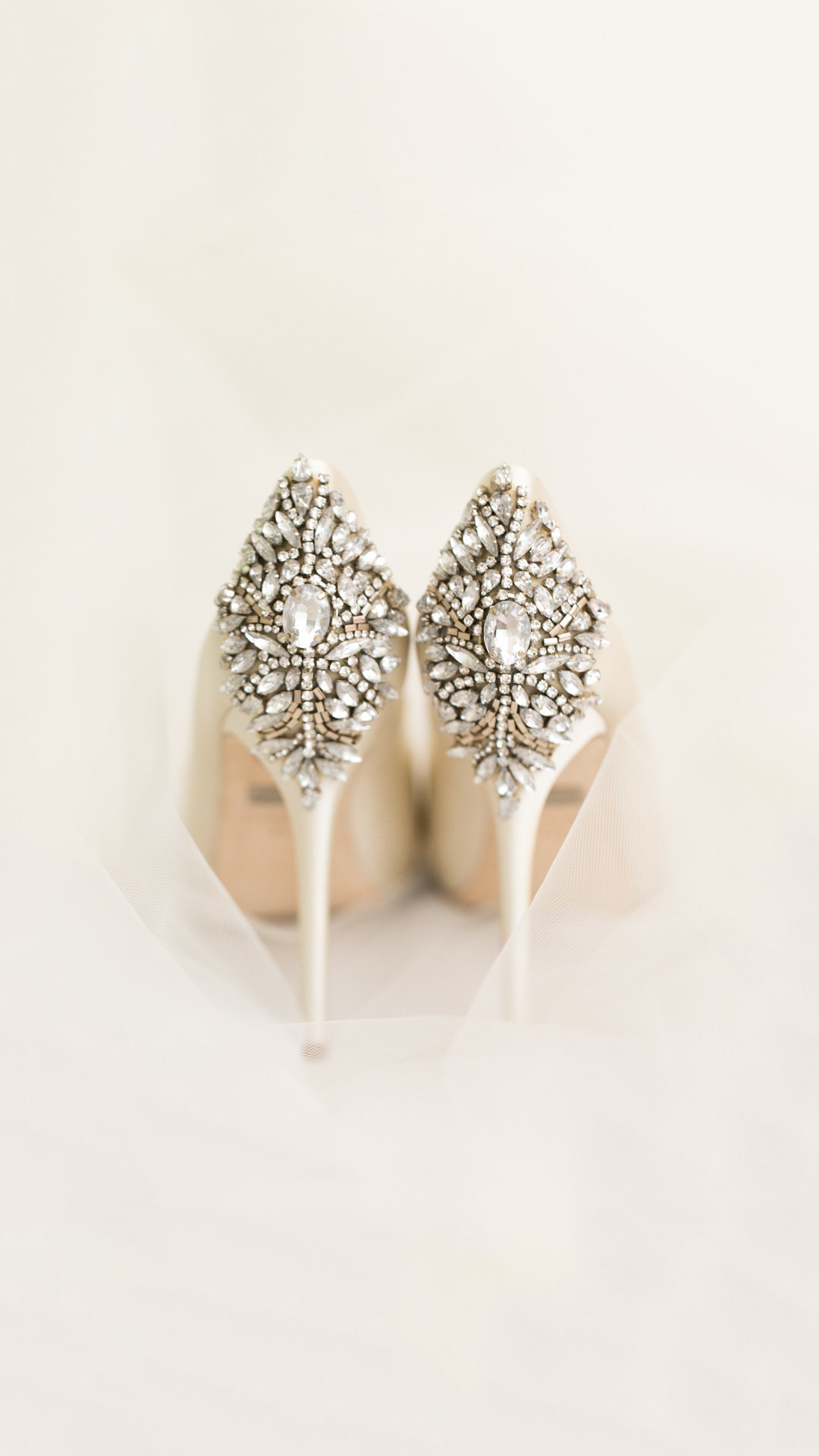 Jeweled Badgley Mischka bridal heels
