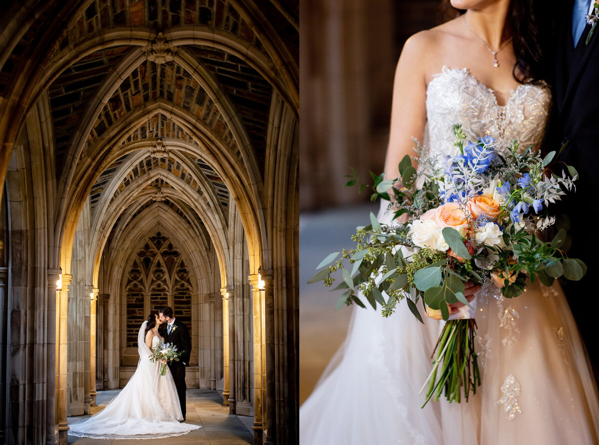 A gorgeous January wedding at Duke University Chapel in Durham.