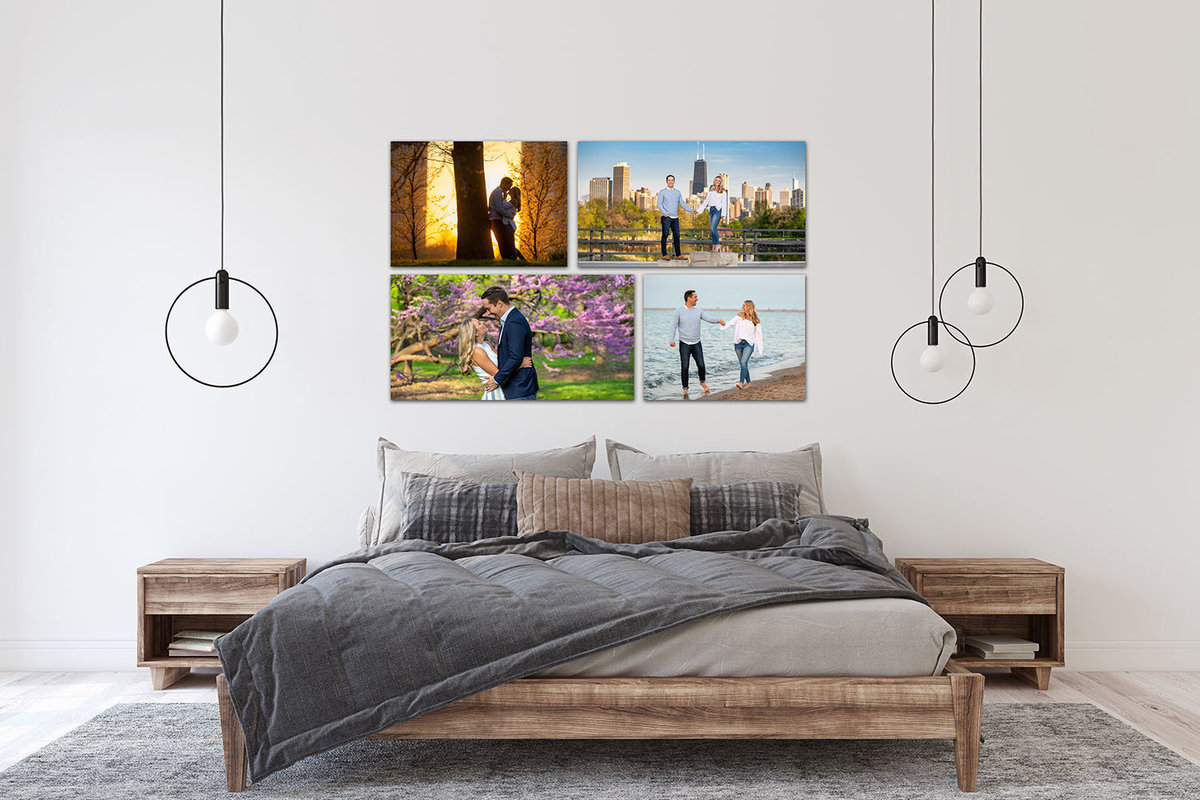 A composite of 4 engagement images in a bedroom.