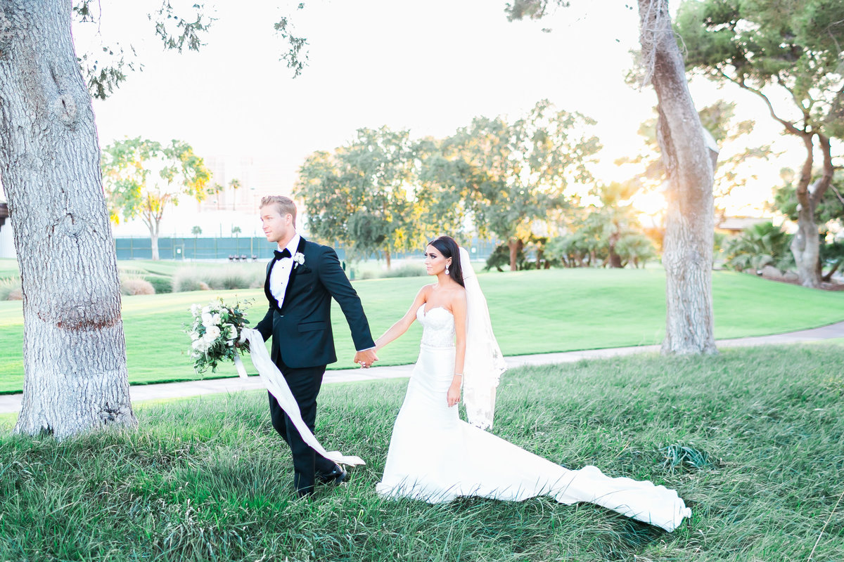 bride and groom photo on golf course in las vegas at Las Vegas Country Club