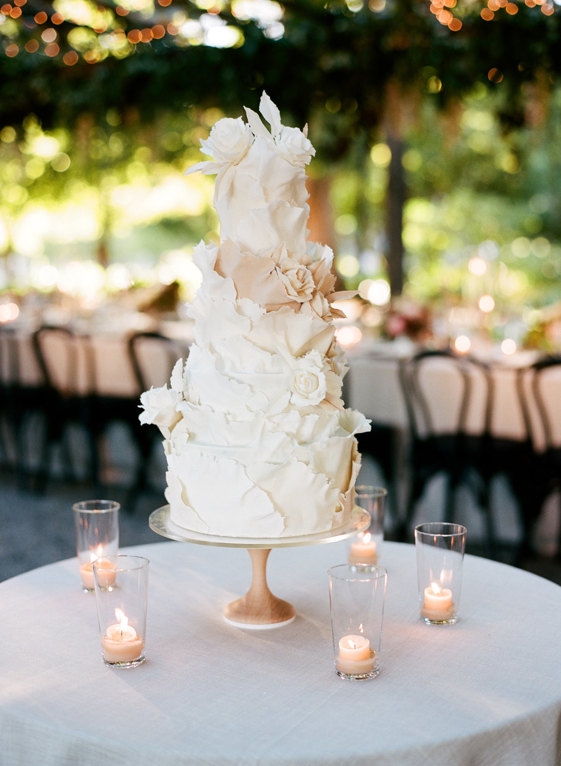 Cake for wedding by Jenny Schneider Events at the Beaulieu Garden in Napa Valley, California. Photo by Lori Paladino Photography.