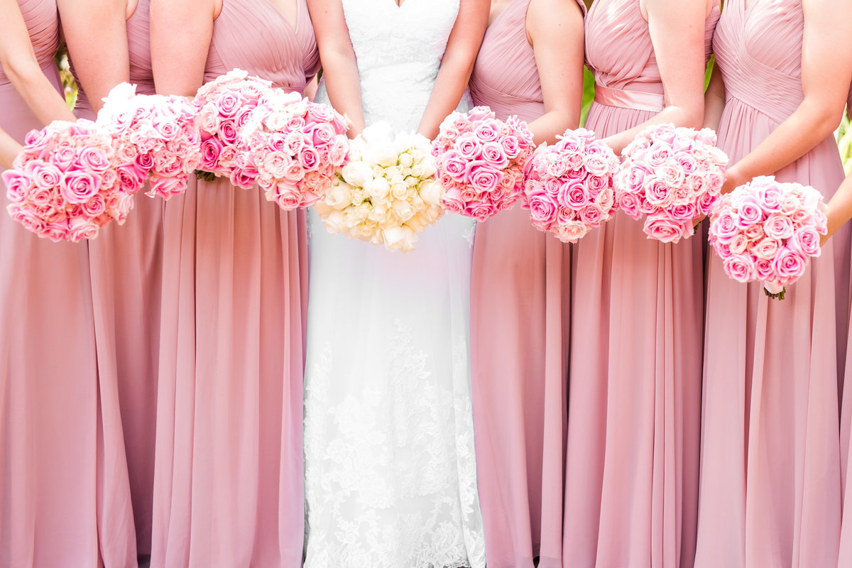 Blush Bridesmaids Dresses Pink and White Wedding Florals Virginia Wedding Photographer