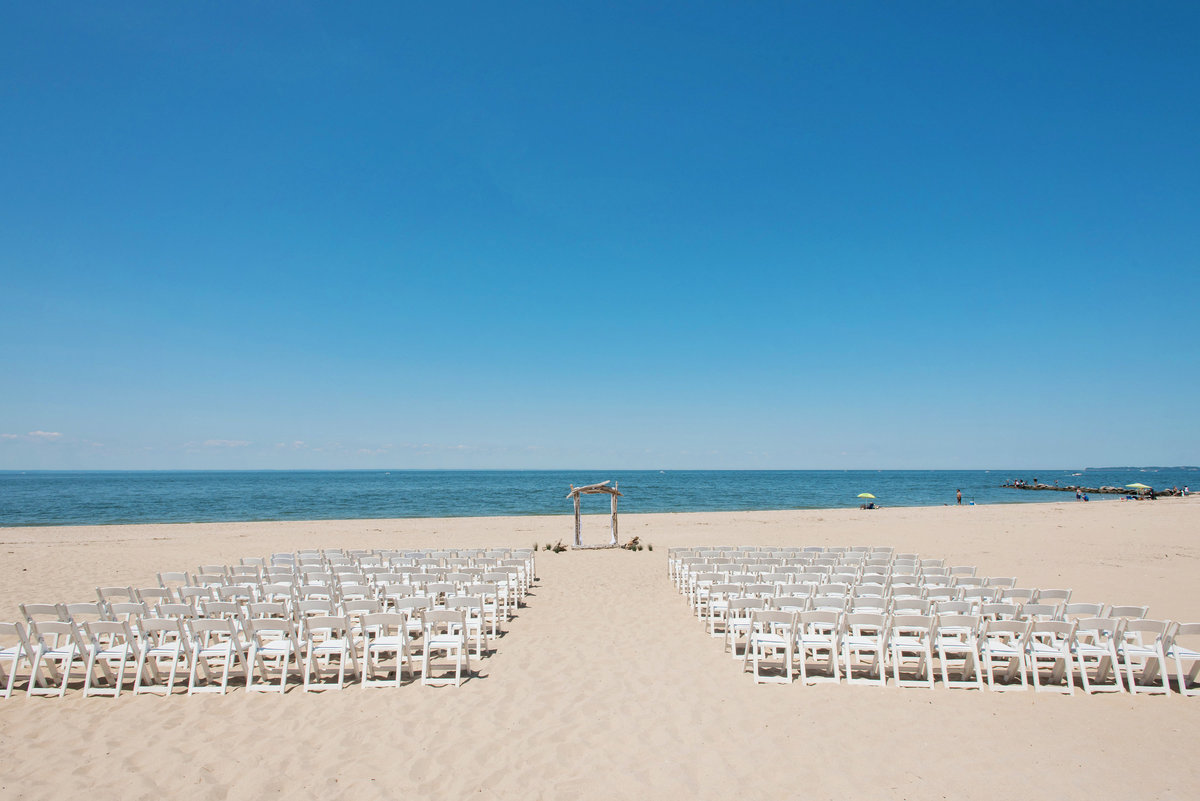 photo of wedding ceremony set up on the beach at Pavilion at Sunken Meadow