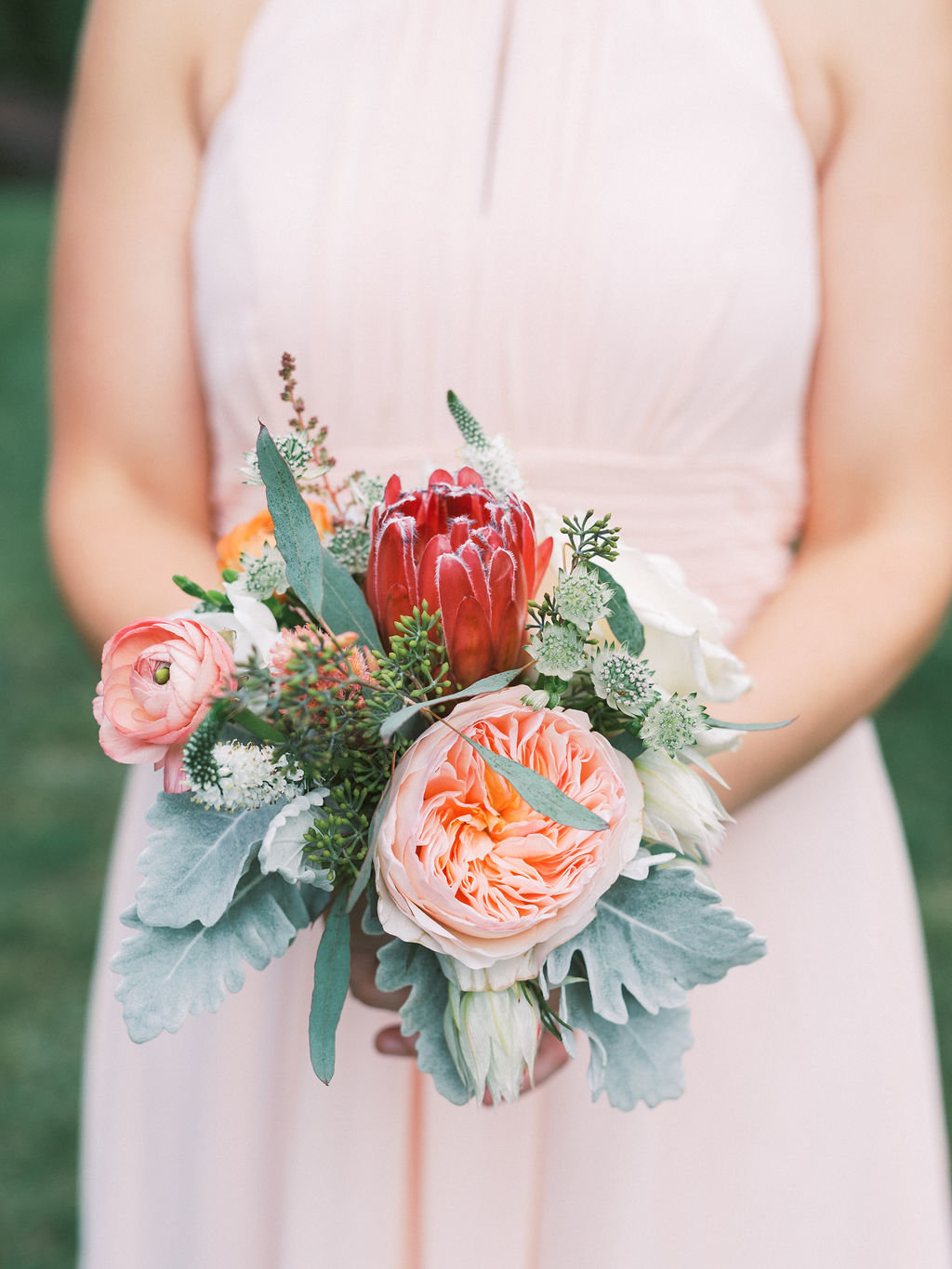 bridesmaid bouquet A Styled Fete Greenville country club wedding Delaware