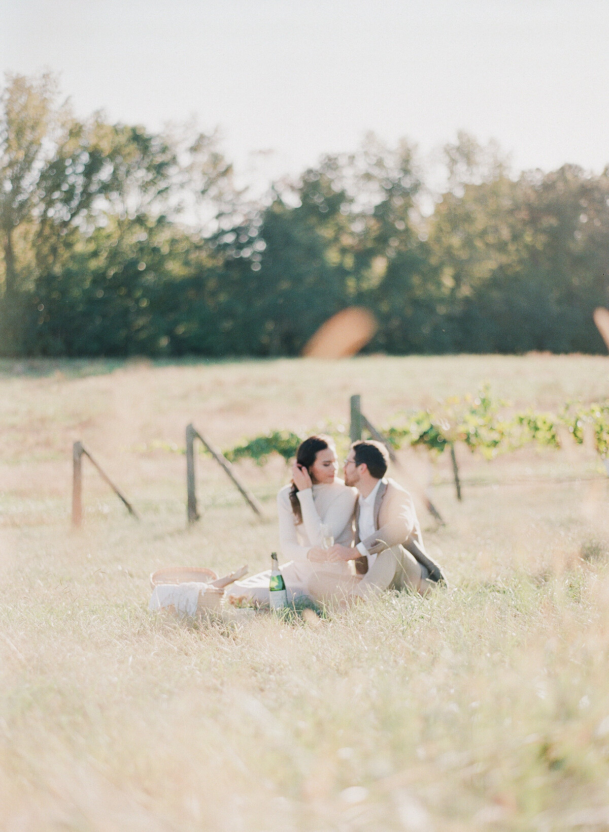 French Vineyard Engagement Photography at The Meadows in Raleigh, NC 17