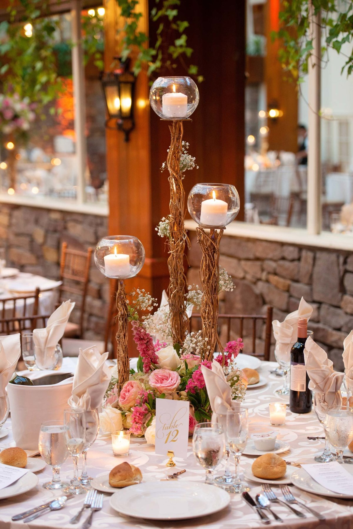 Candle centerpiece at Fox Hollow