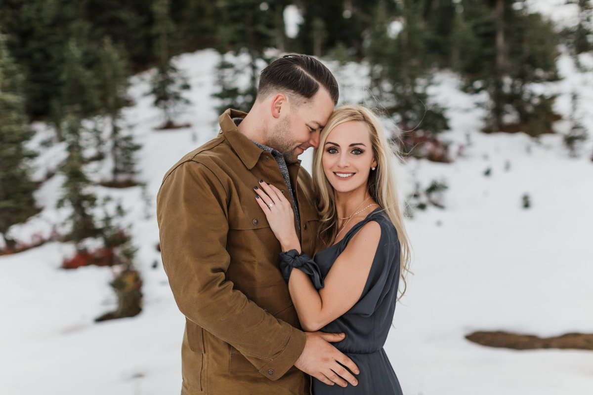 Snowy Mount Rainier Engagement Photos-14