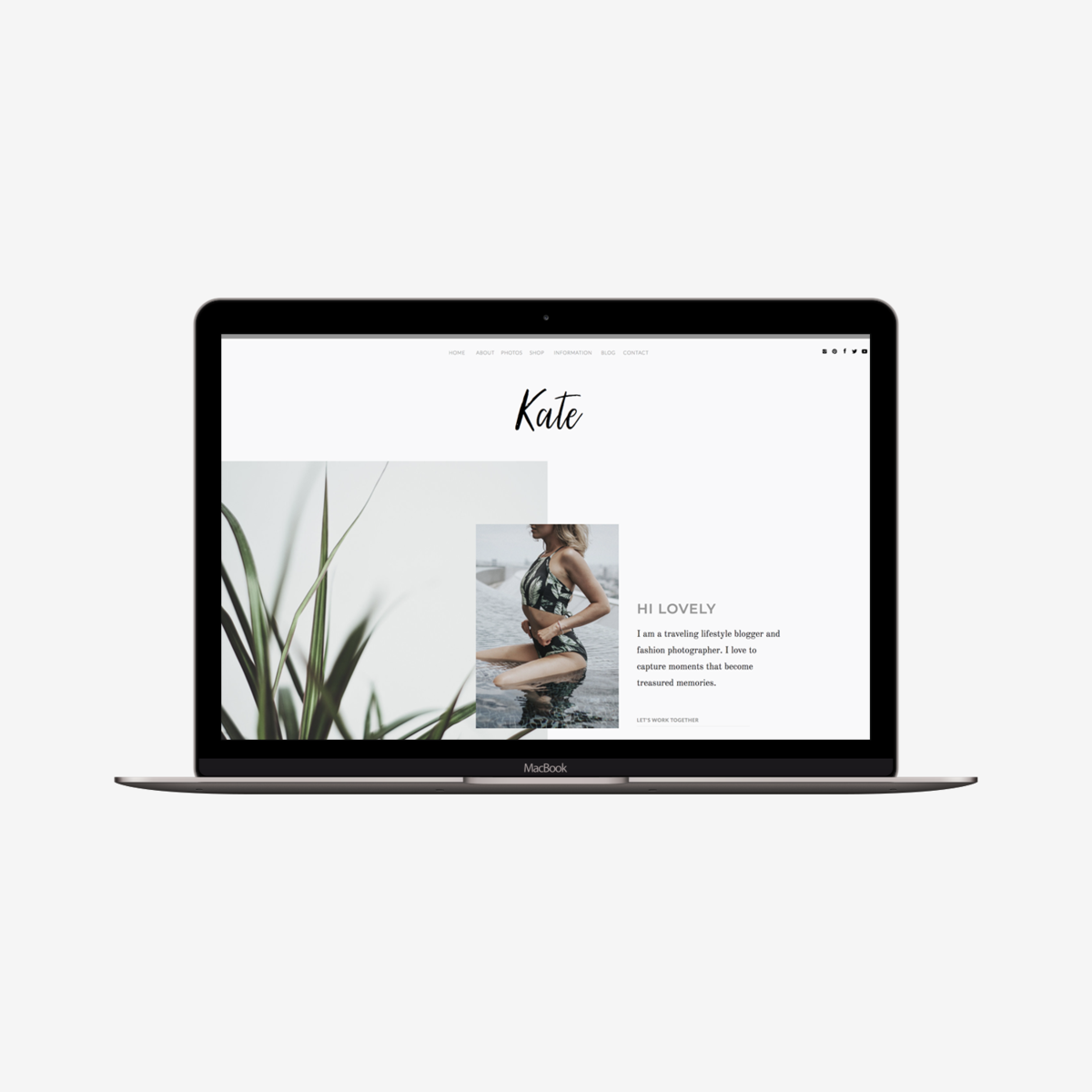 The Roar Showit Web Design Template Kate Macbook Image