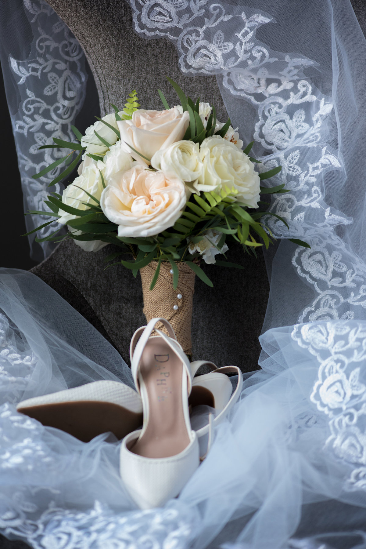 Renaissance Hotel, Albany, NY, cream and blush rose bouquet, tulle and lace veil, ivory ankle strap wedding pumps