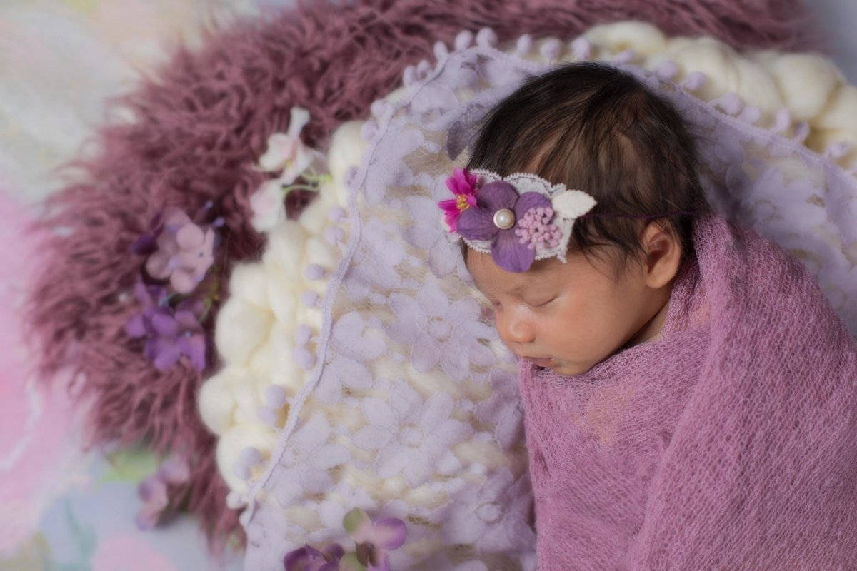 Purple newborn girl photos