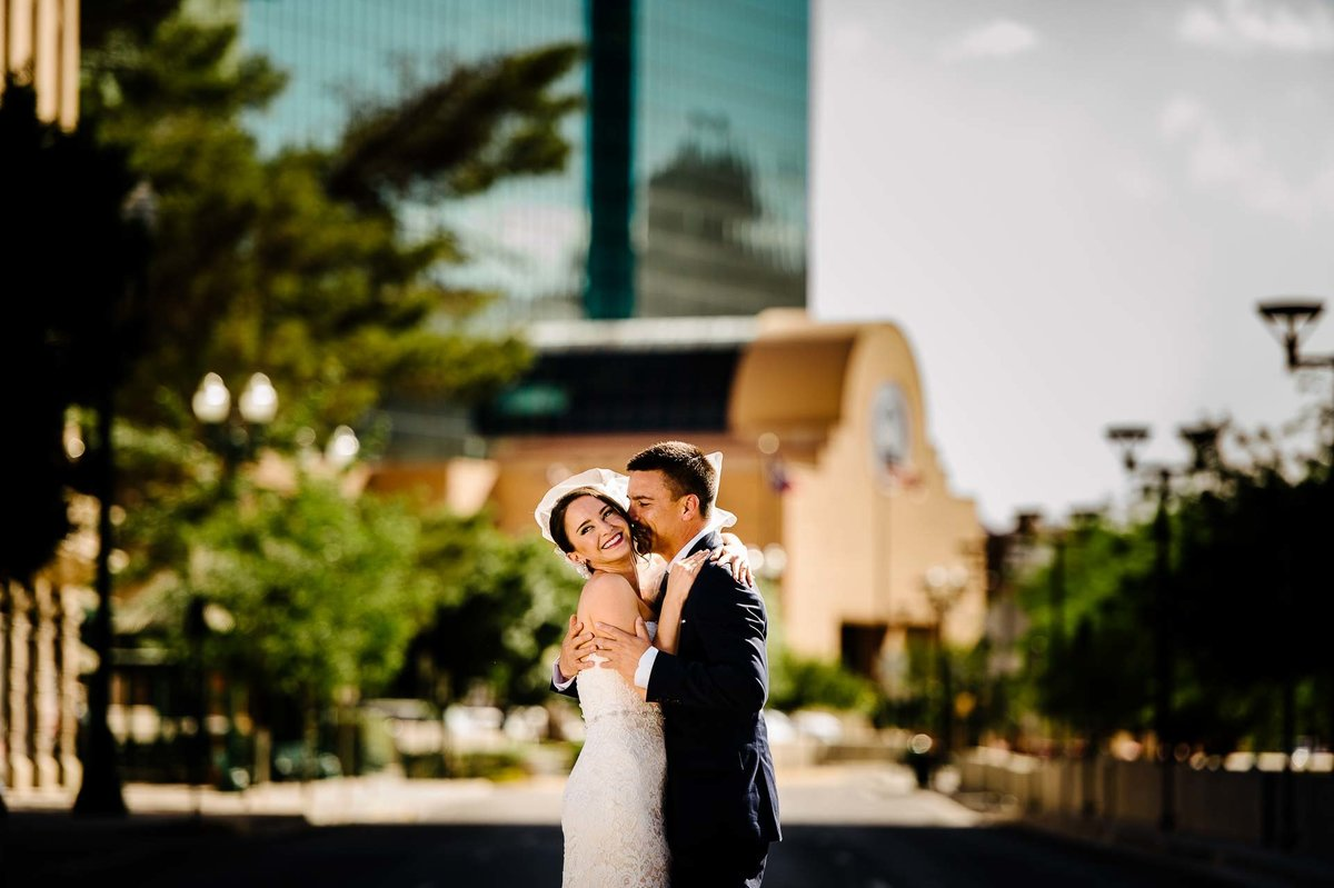 bride and groom in front of city hall el paso