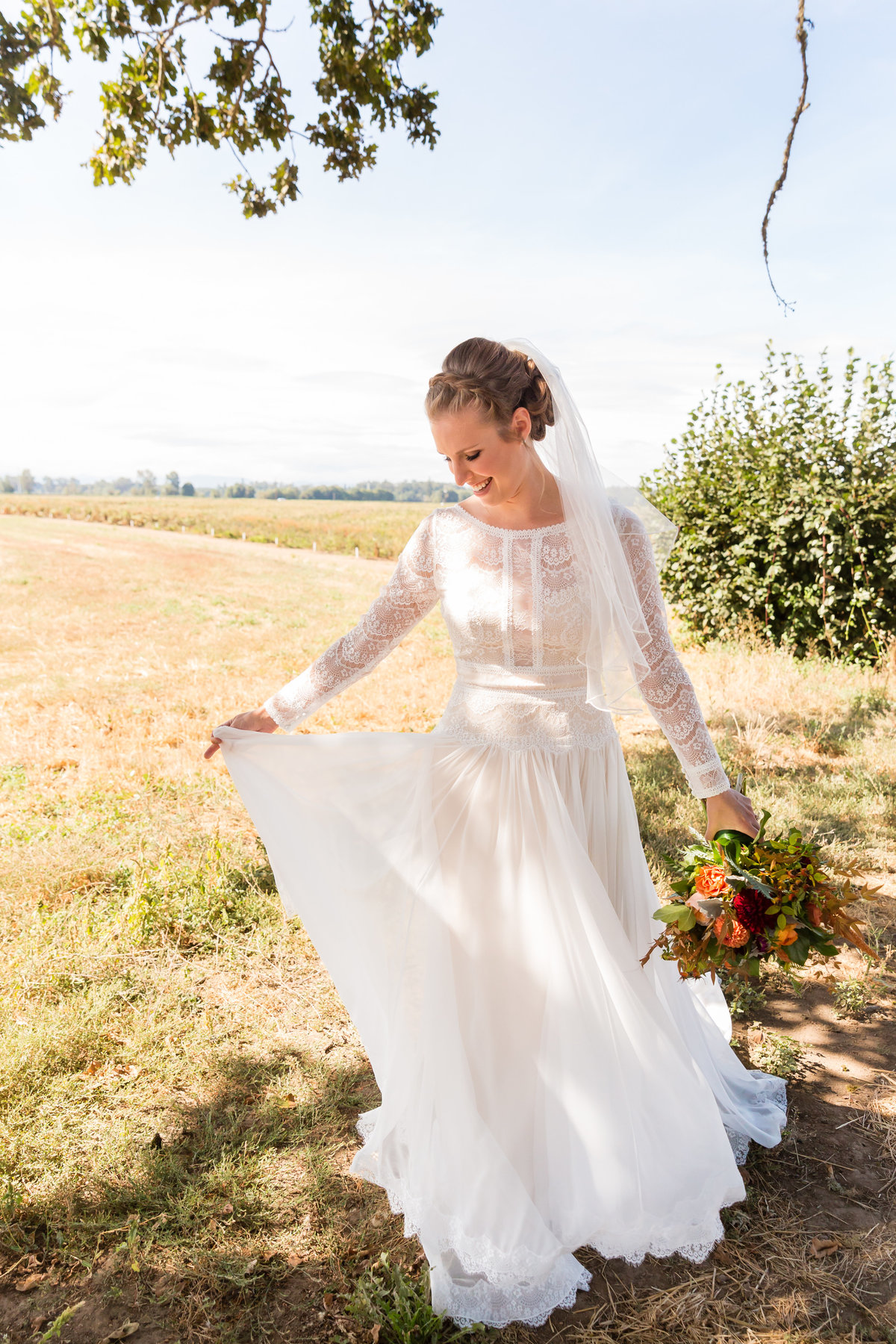 Outdoor Wedding Farm Dress Flowers Country