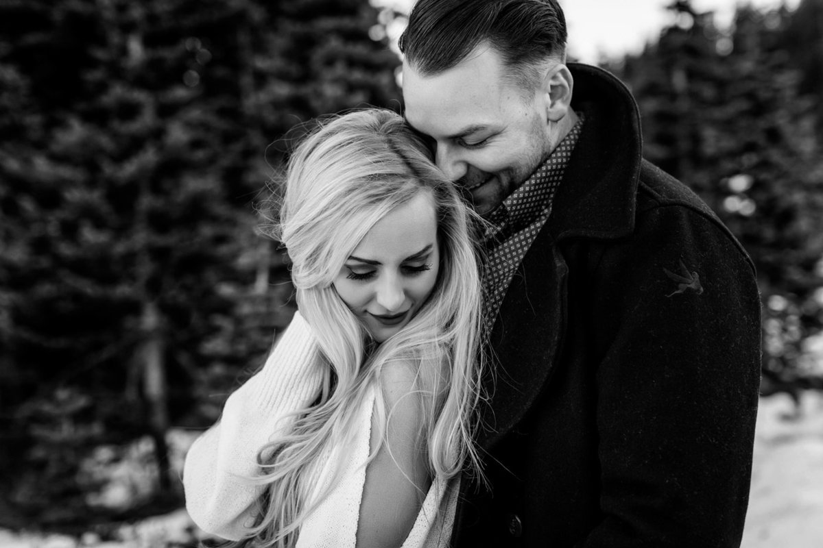 Snowy Mount Rainier Engagement Photos-38