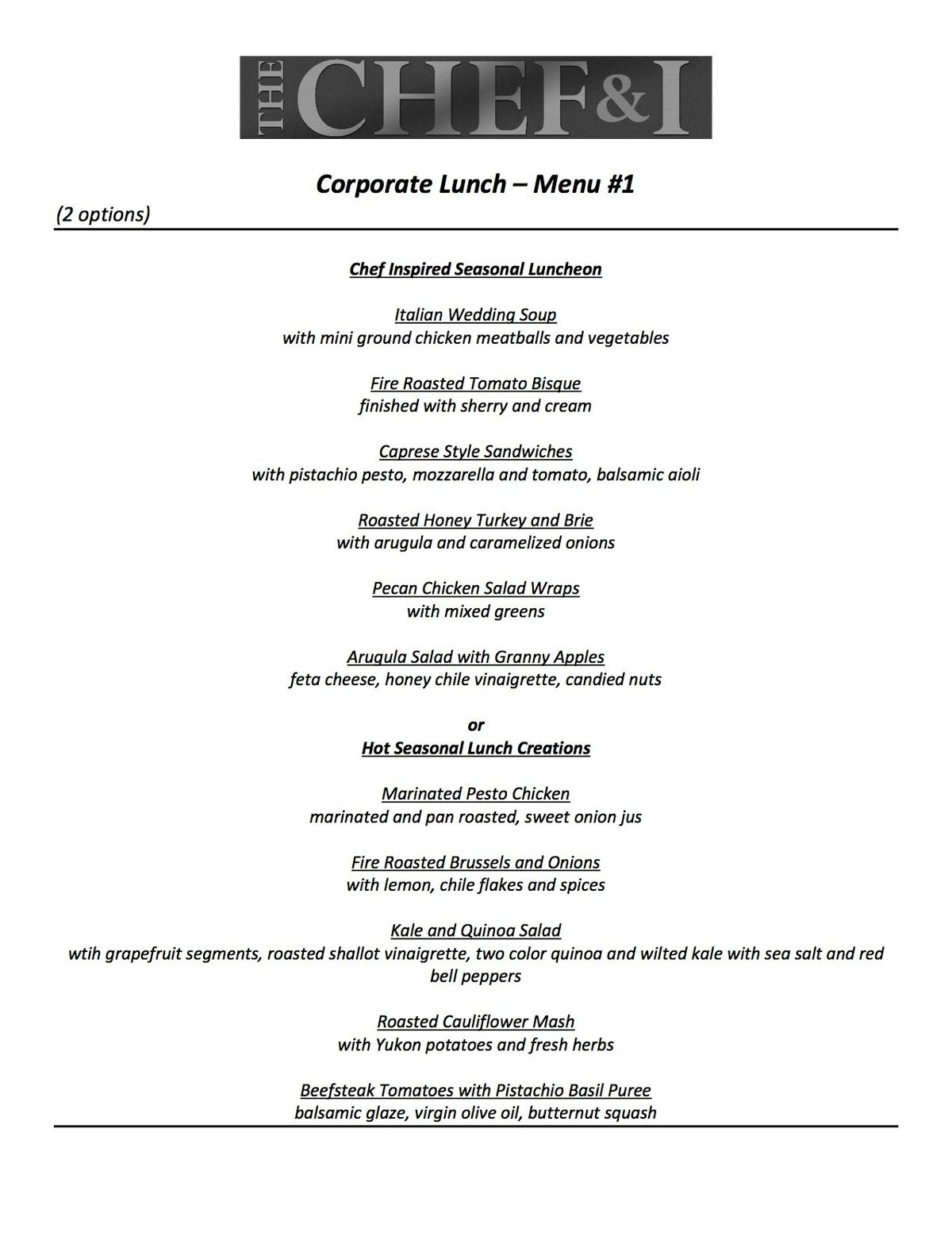 Corporate Lunch Menu 1