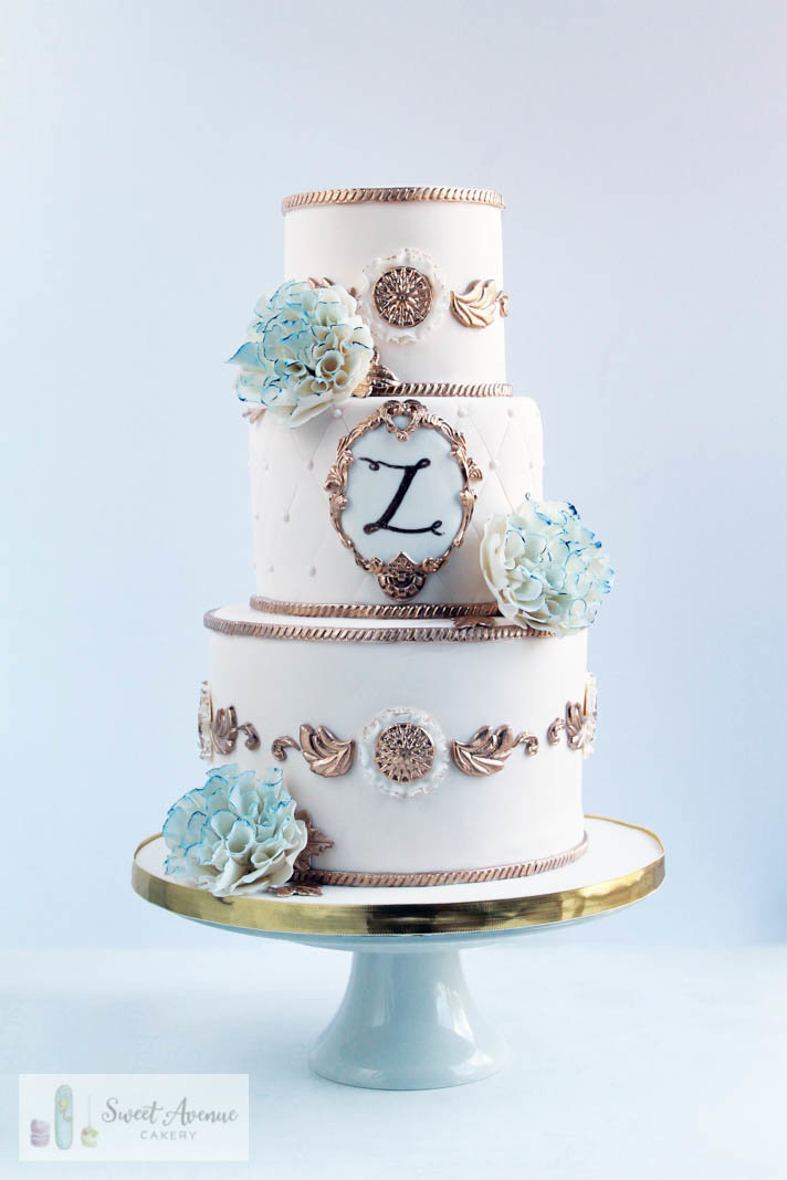 vintage regal ivory and gold wedding cake