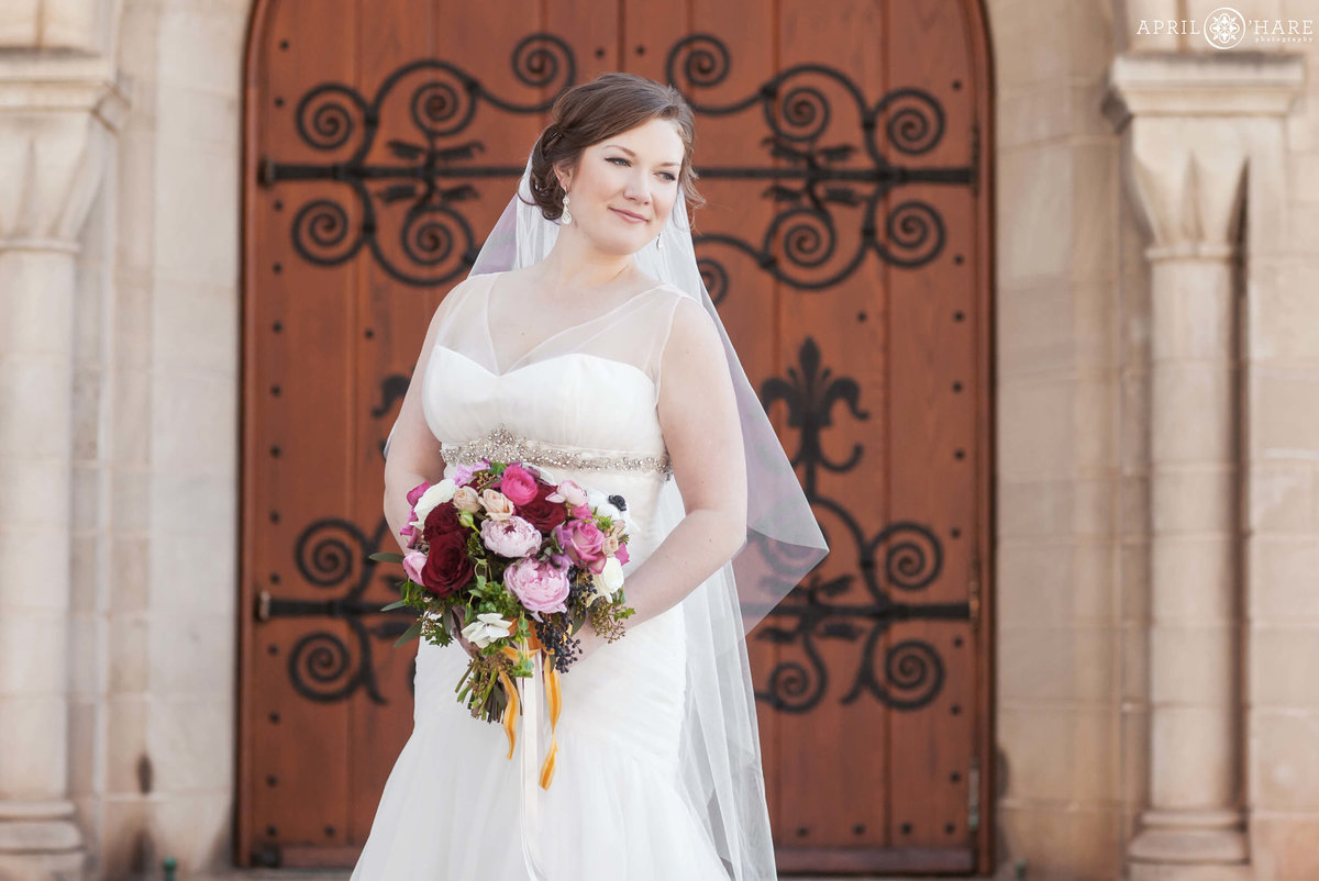 Bride portrait at the Shove Chapel in Colorado Springs, CO