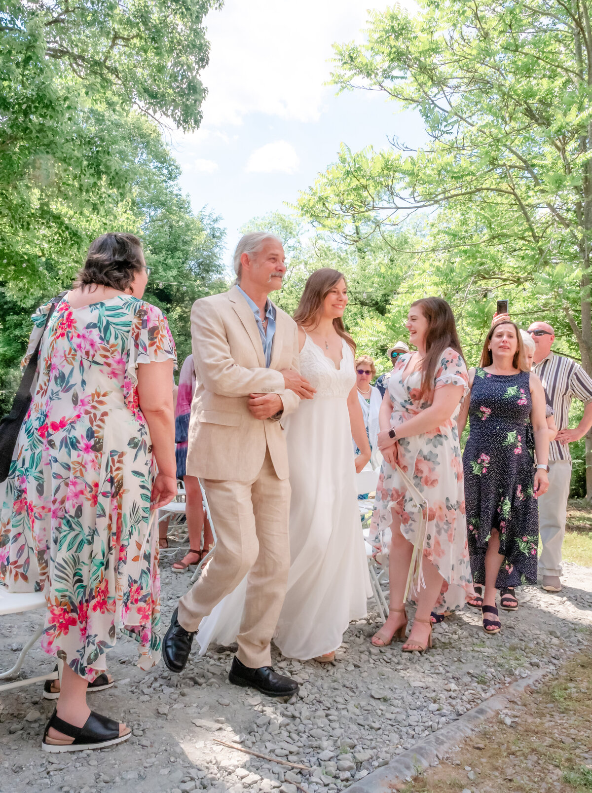 Blowing Rock Wedding Photography - Rhiannon and Chris - Bride and Father Aisle - Wilmington NC Photographers Team