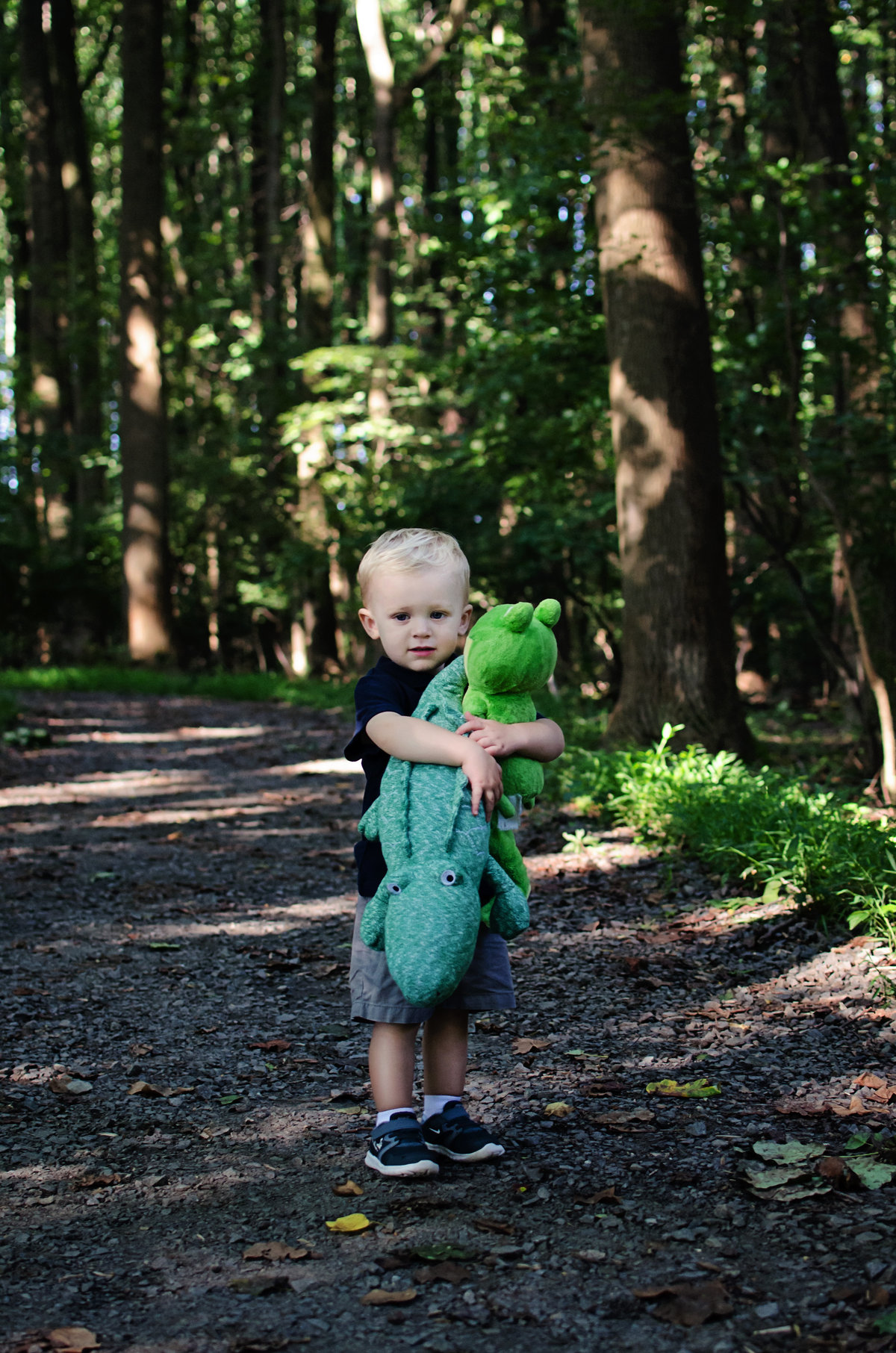 Portrait of a little boy and his stuffed alligator during a lifestyle session at Nottoway Park in Northern Virginia taken by Sarah Alice Photography