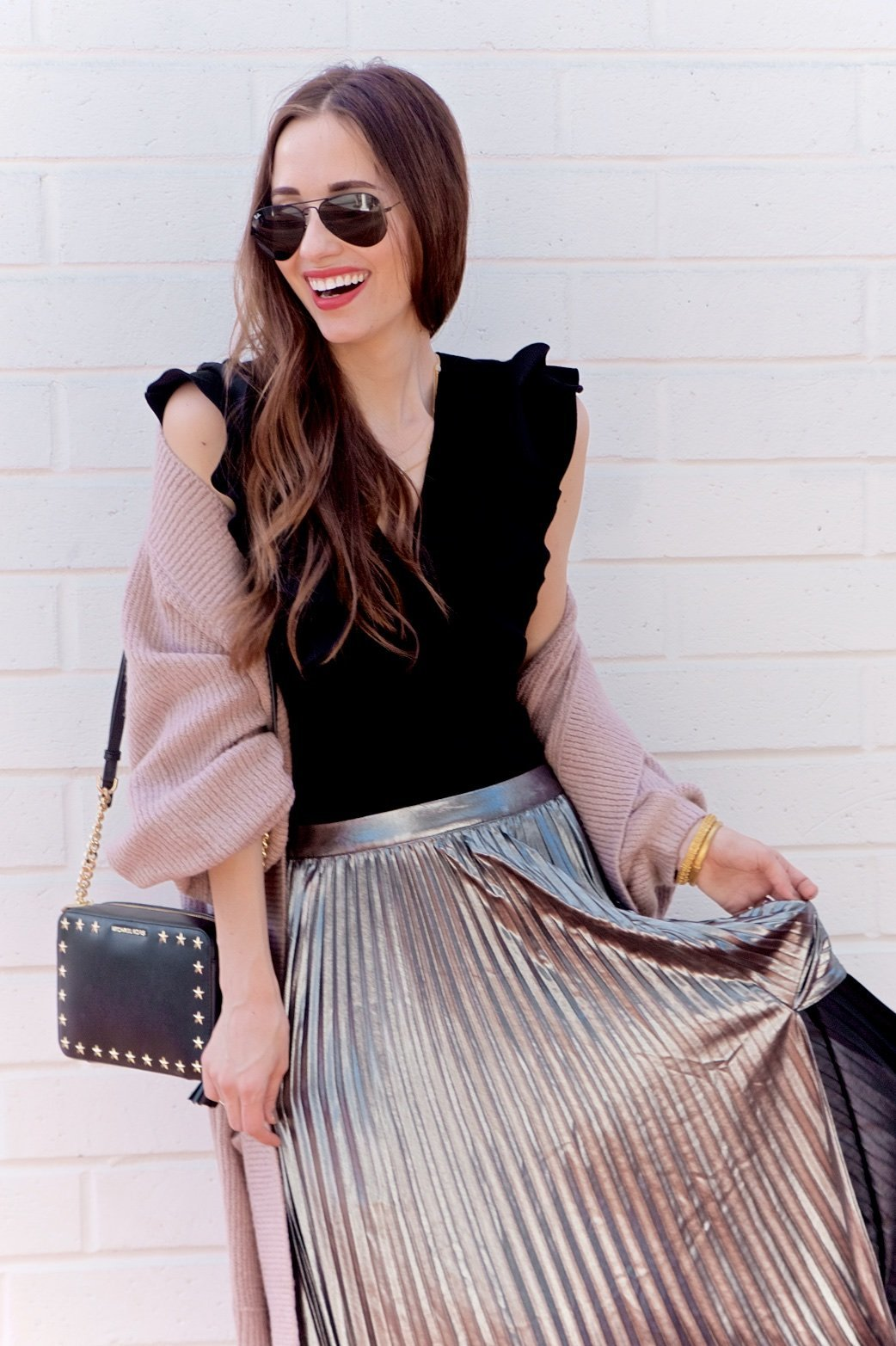 M Loves M Blogger in Pleated Skirt