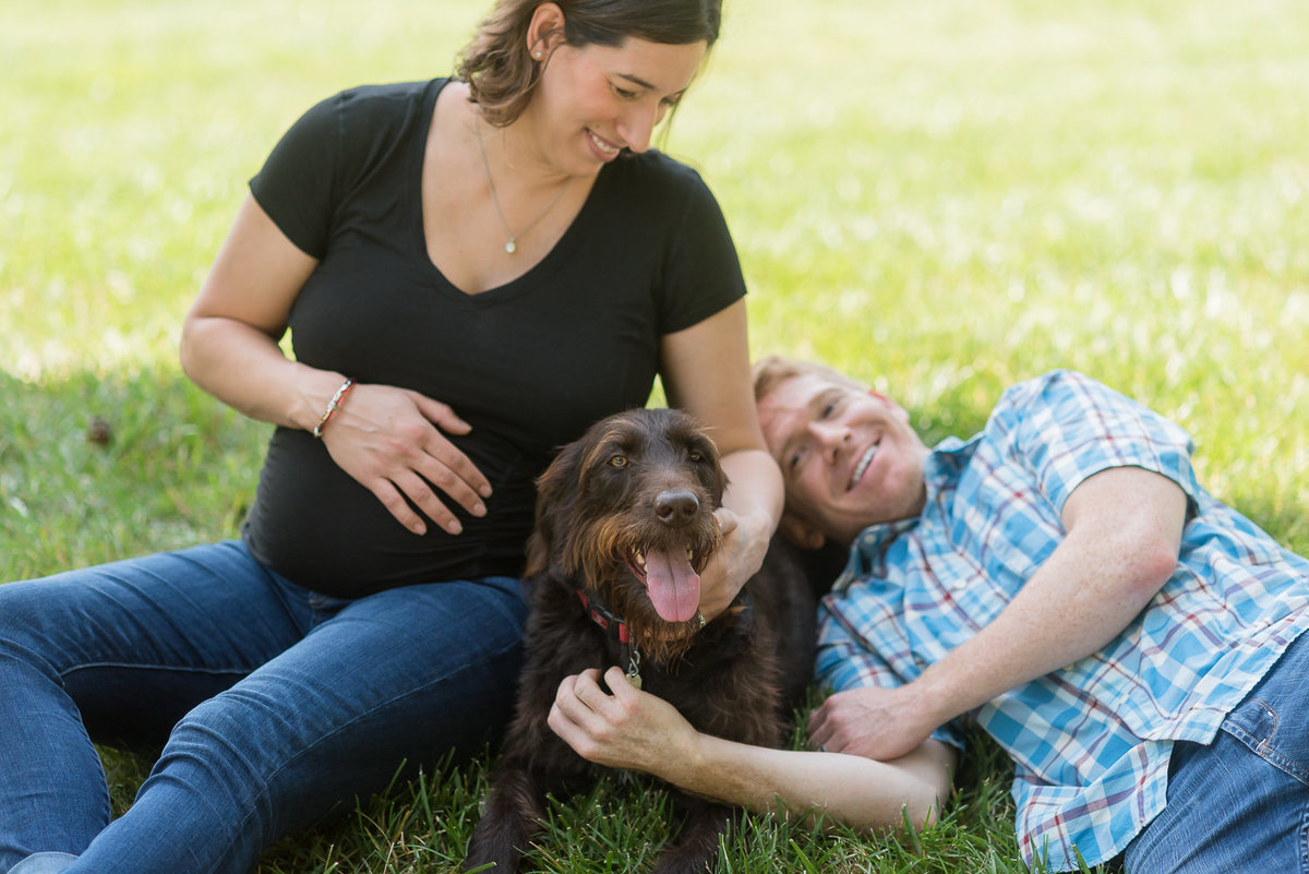 candid expectant couple with dog-1