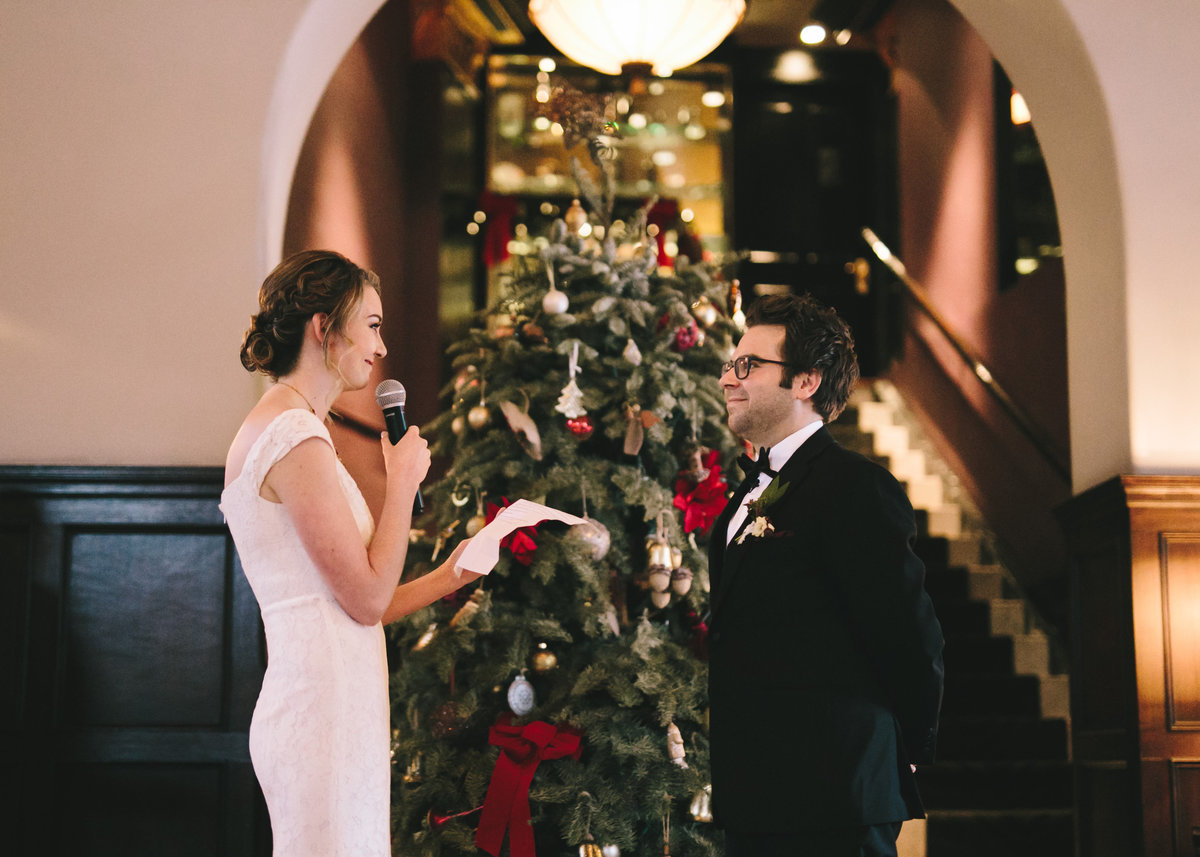 Bride-Groom-Christmas-Wedding-Culver-Hotel