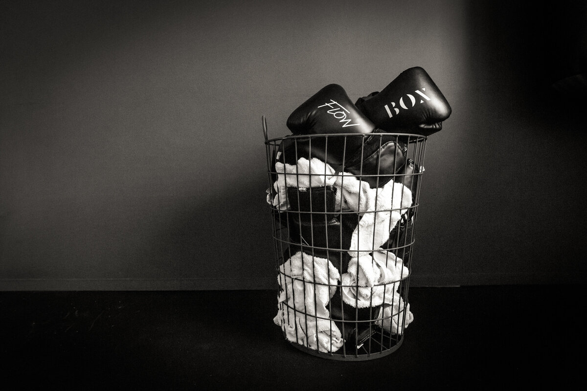 boxing gloves in a basket