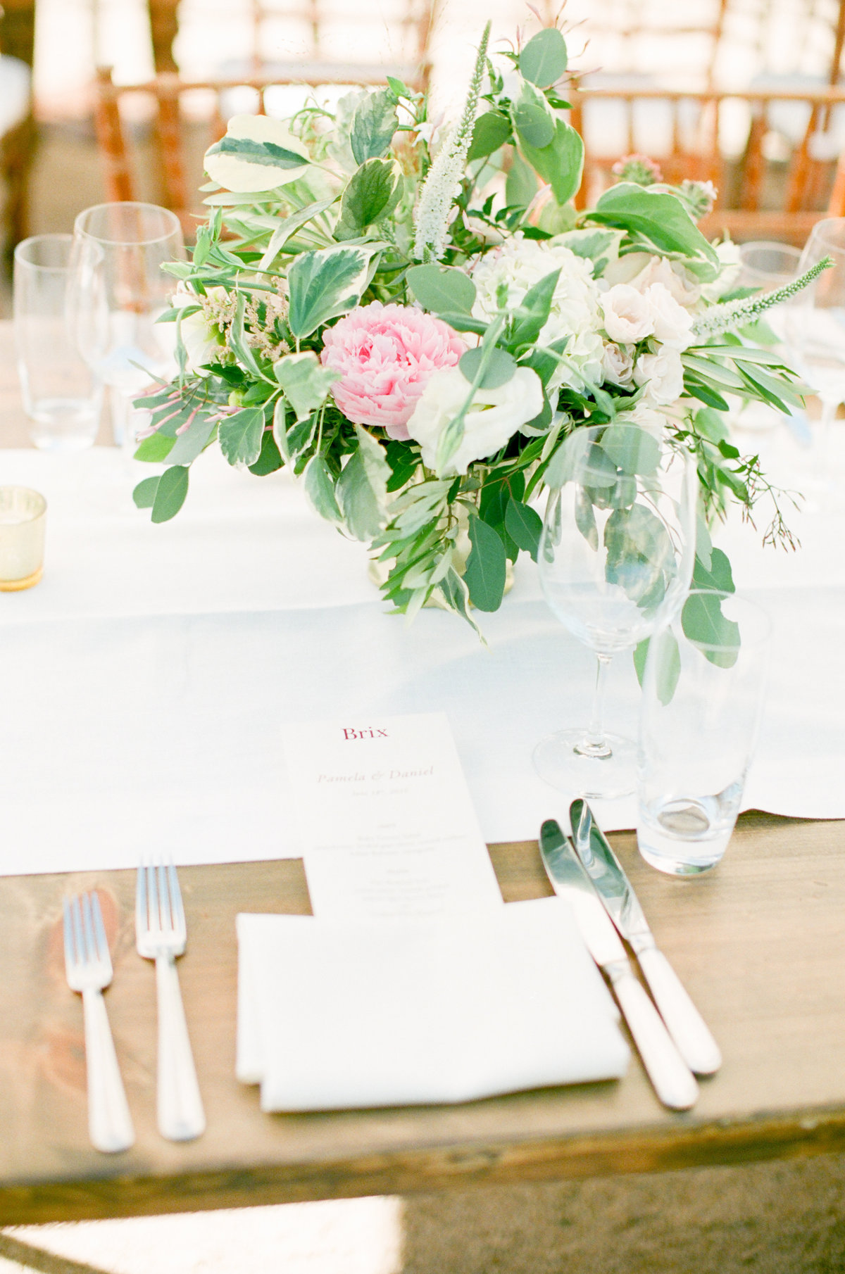 Brix Napa Wedding Table Setting