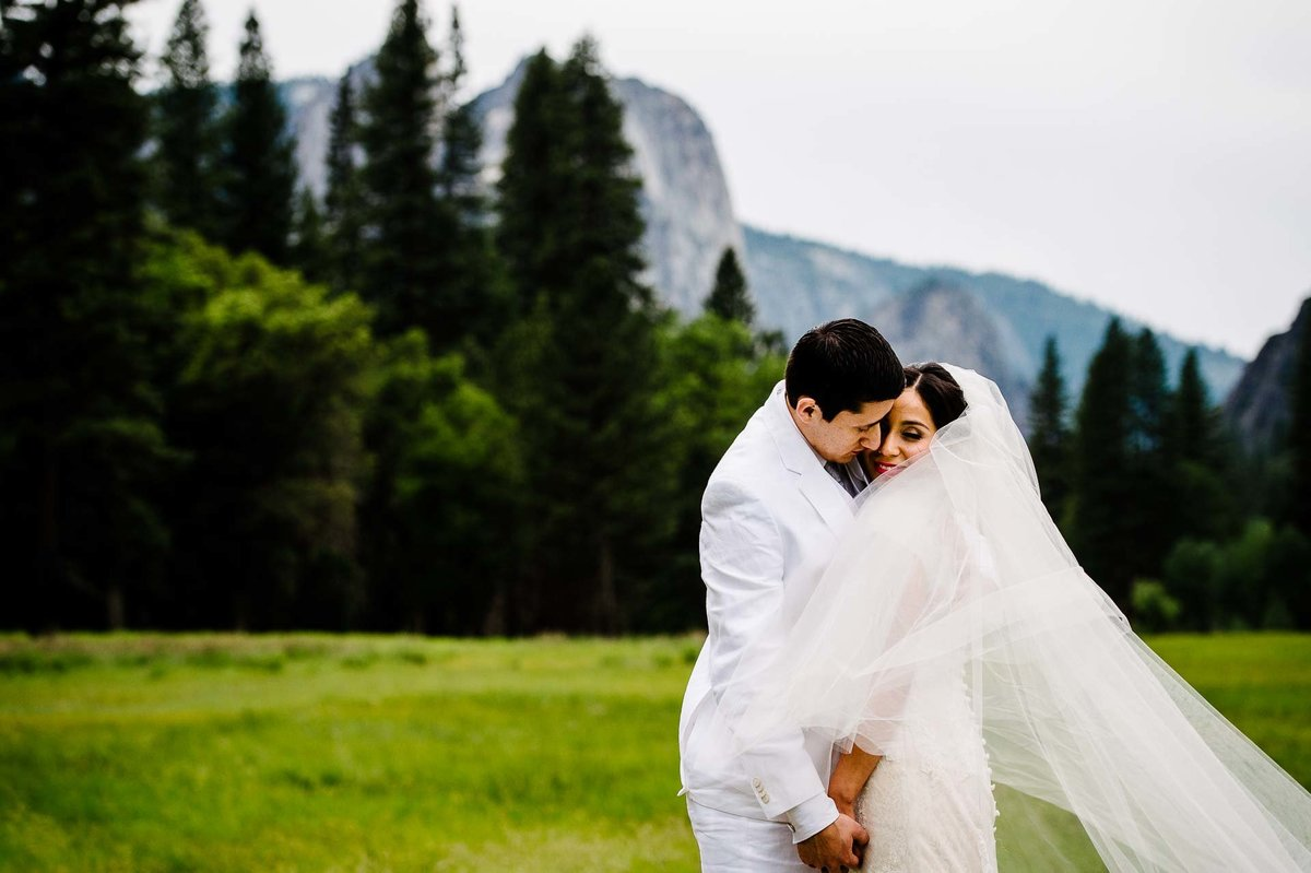 groom hugging his bride  aT YOSEMITE NATIONAL PARK