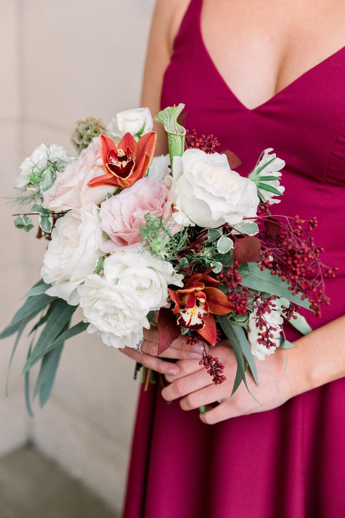 bridesmaid bouquet burgundy Wilmington Delaware Florist wedding