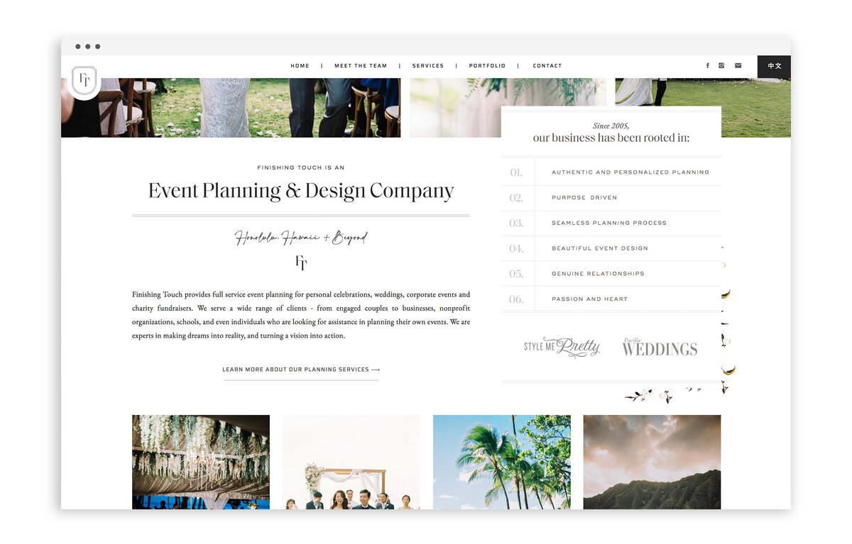Finishing Touch Hawaii - Custom Brand and Web Design Website Design for Wedding and Event Planner - With Grace and Gold - Showit Website Designer - 20