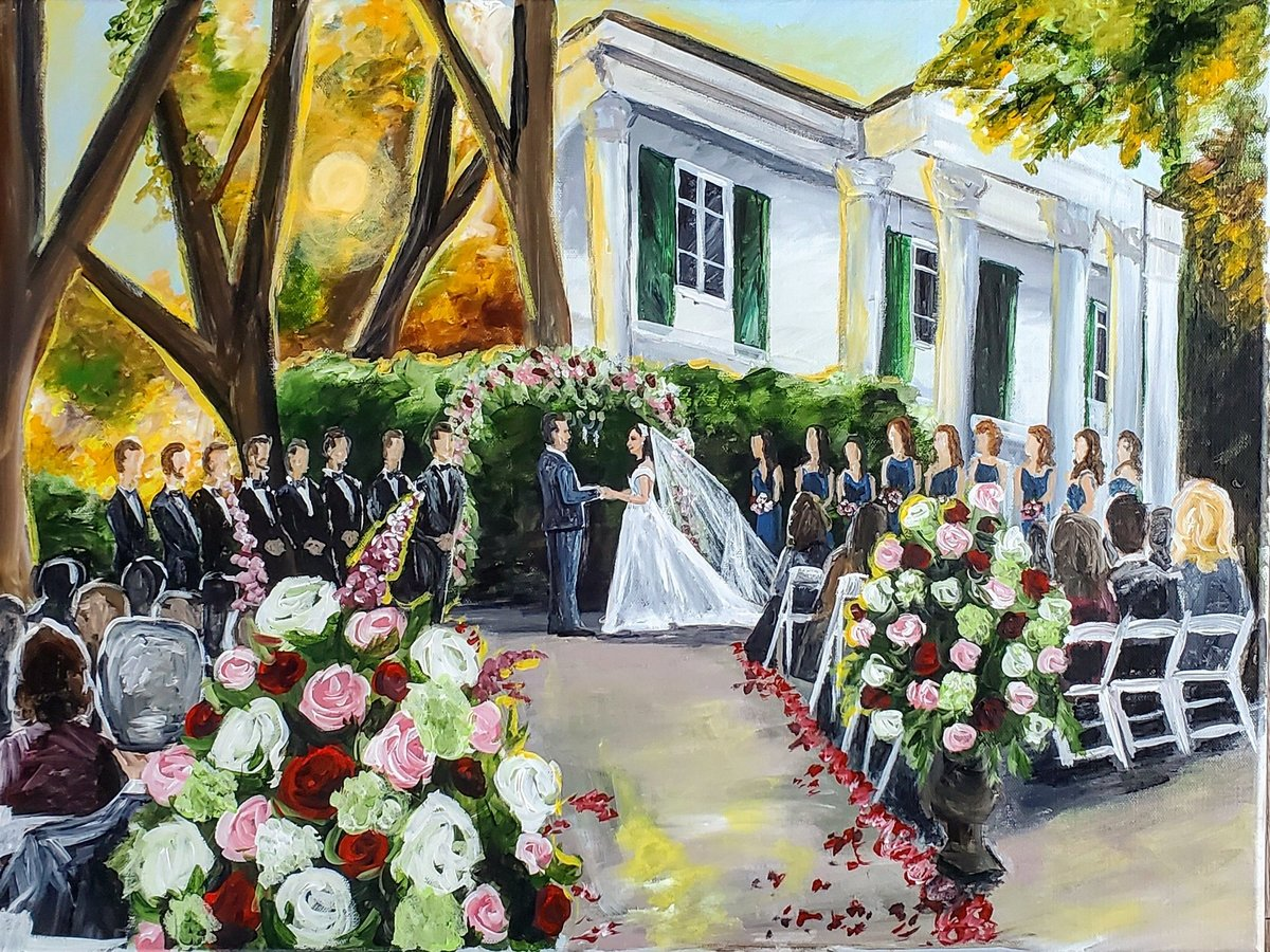Live painting of a flower filled wedding ceremony outside the Riverwood Mansion in Nashville Tennessee