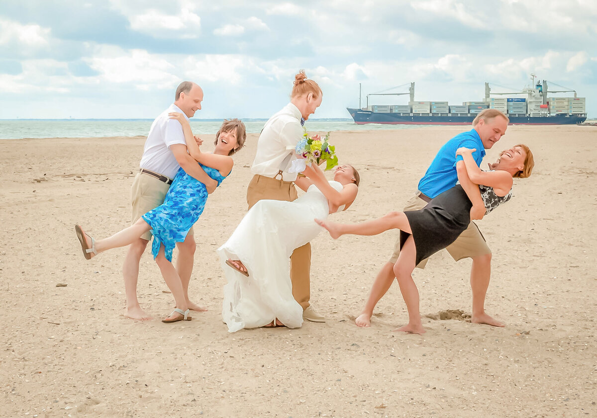 Bald Head Island Wedding Photography - Anna and Ray - Sand Portrait Family Fun - Wilmington Photographers Team