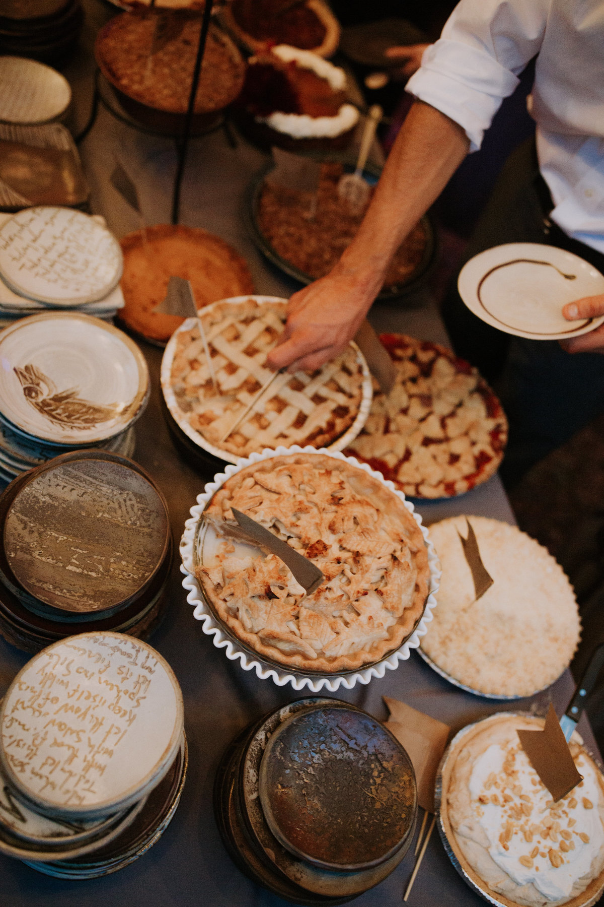 Homemade pies for a backyard wedding with planner For Love of Love