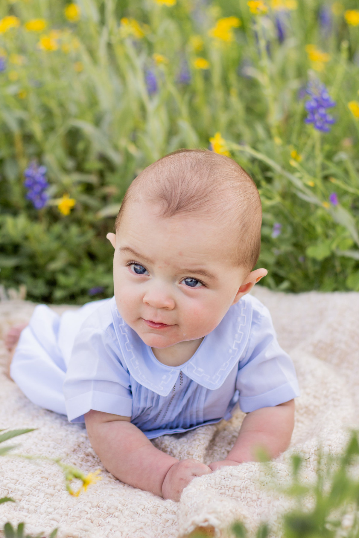 Katy Baby Photography | 3 month old baby in the bluebonnets