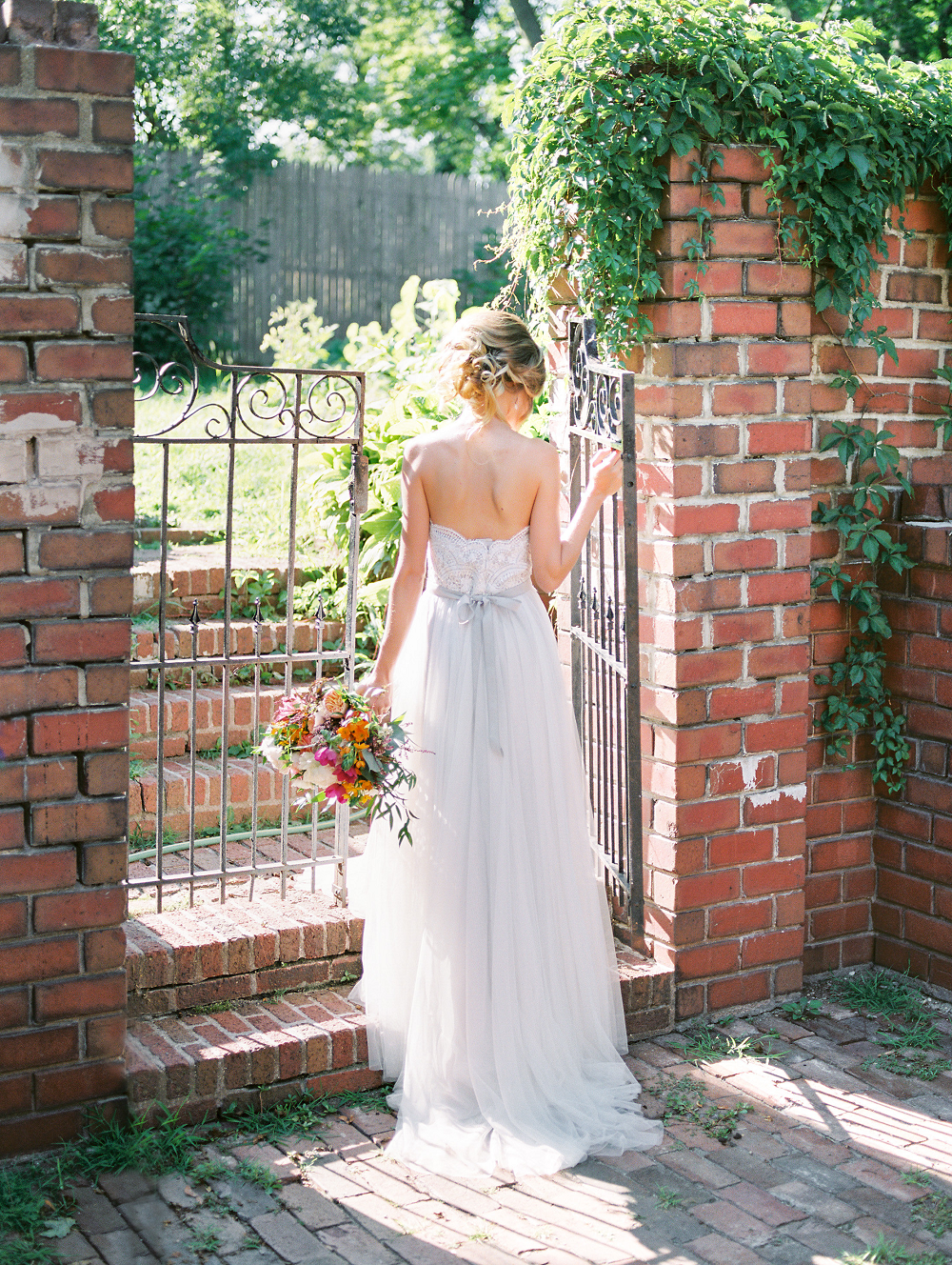 Whimsical Summer Wedding Styled Shoot at Henderson Castle Featured in WeddingDay Magazine Wedding Dress and Bouquet