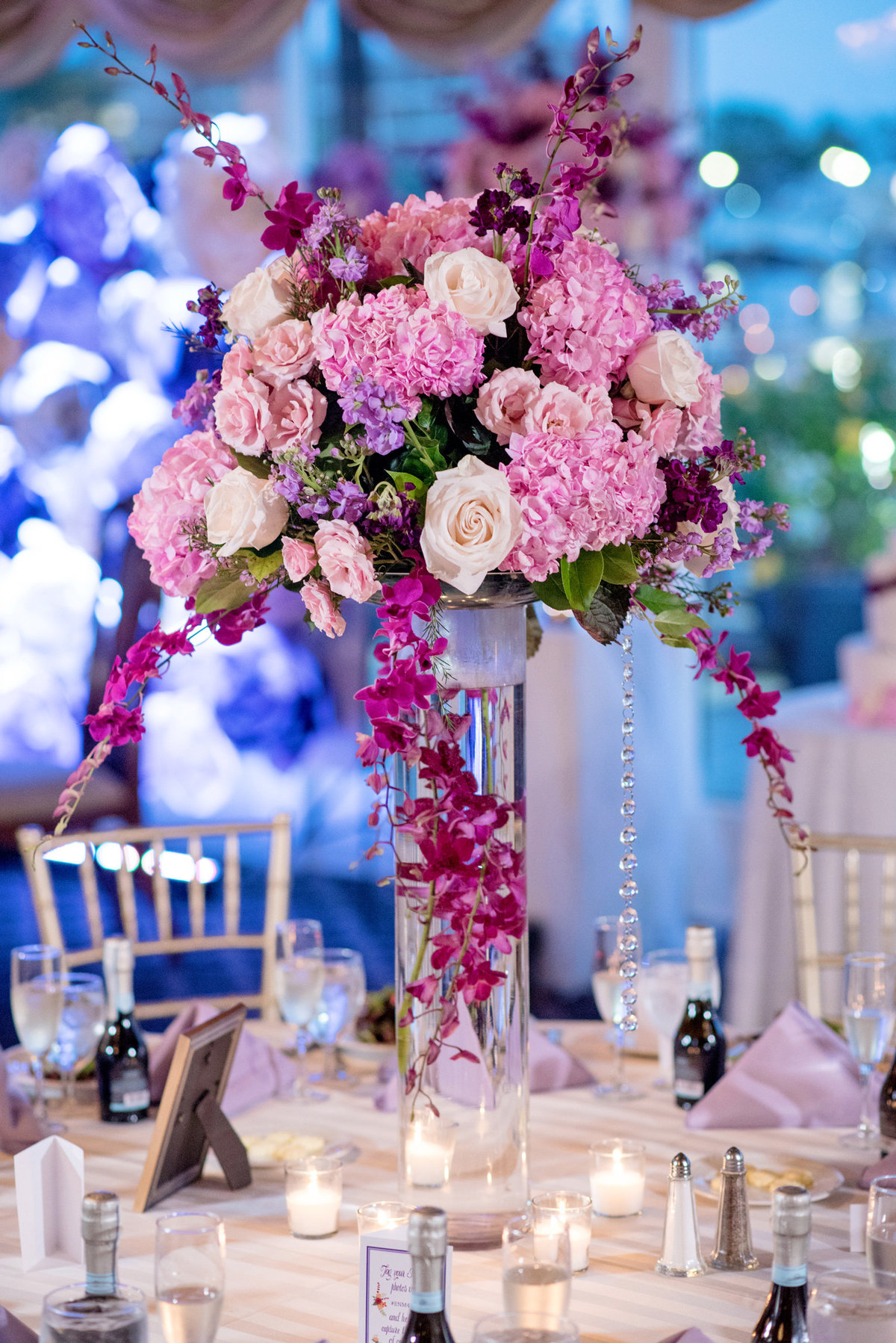 pink and purple centerpiece from Bridgeview Yacht Club