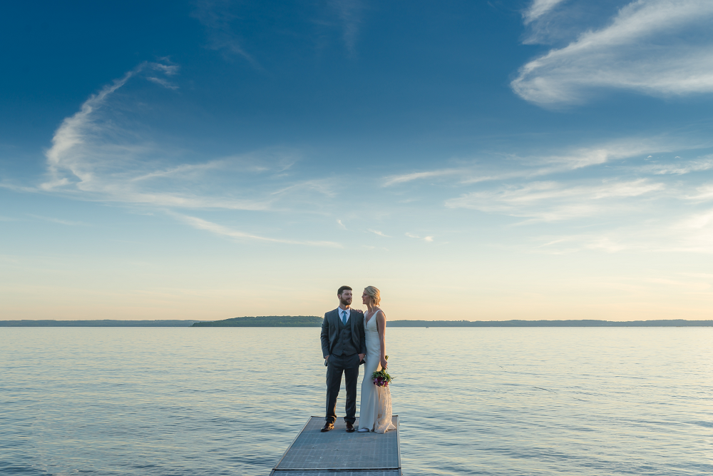 DESTINATION WEDDING IN TRAVERSE CITY WITH KRISTEN AND SCOTT Bride and Groom Water