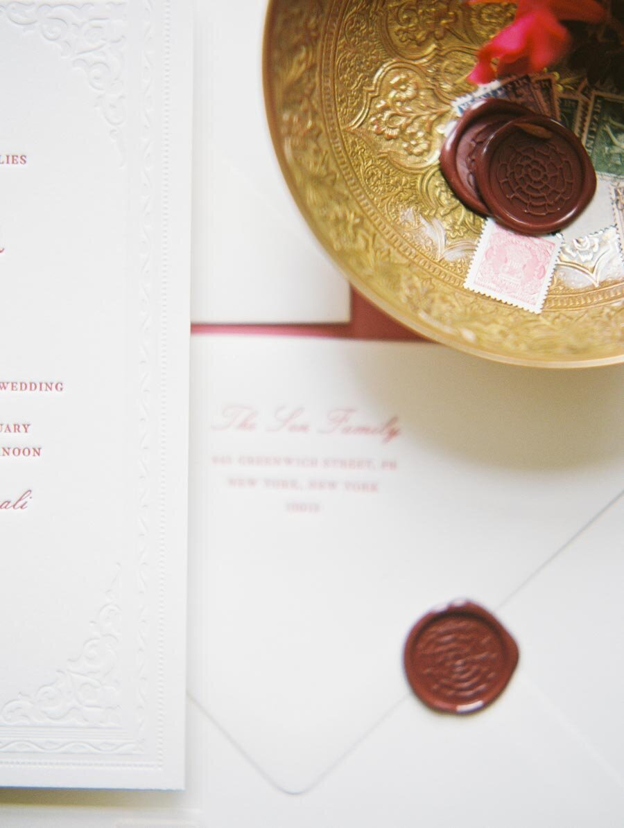 Red Wax Seal for Indian Wedding Invitation Niru & Baku Bonnie Sen Photography