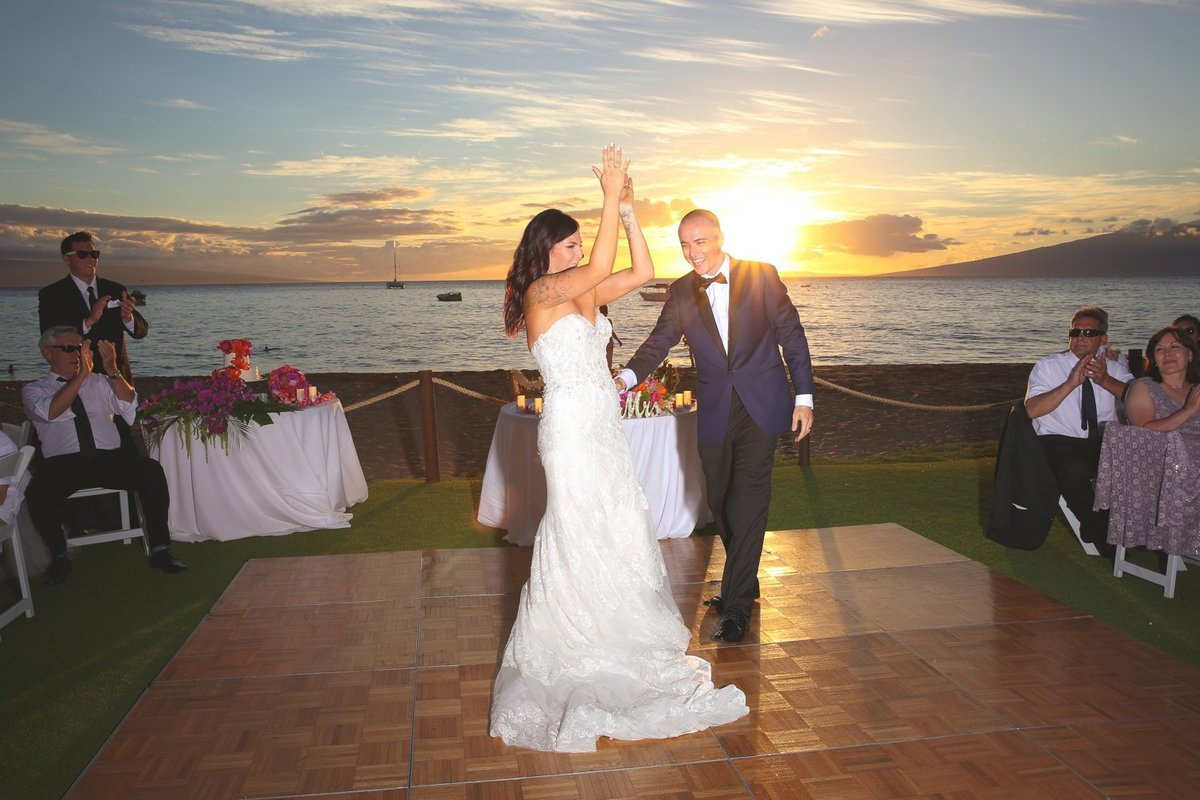 Maui Wedding Photography at The Westin Maui Resort and Spa with bride and groom dancing at sunset