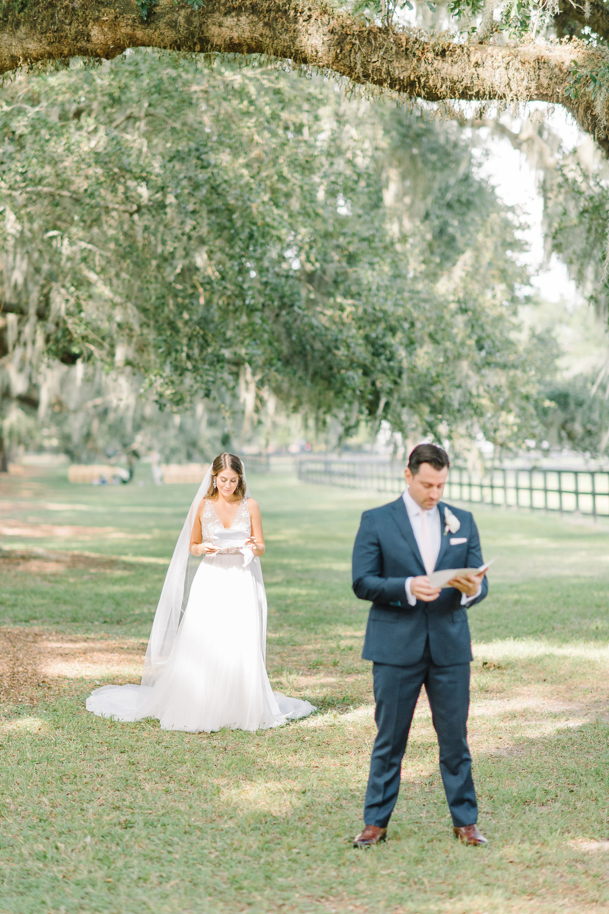 Boone Hall Plantation Bride and Groom Exchanging Notes before First Look