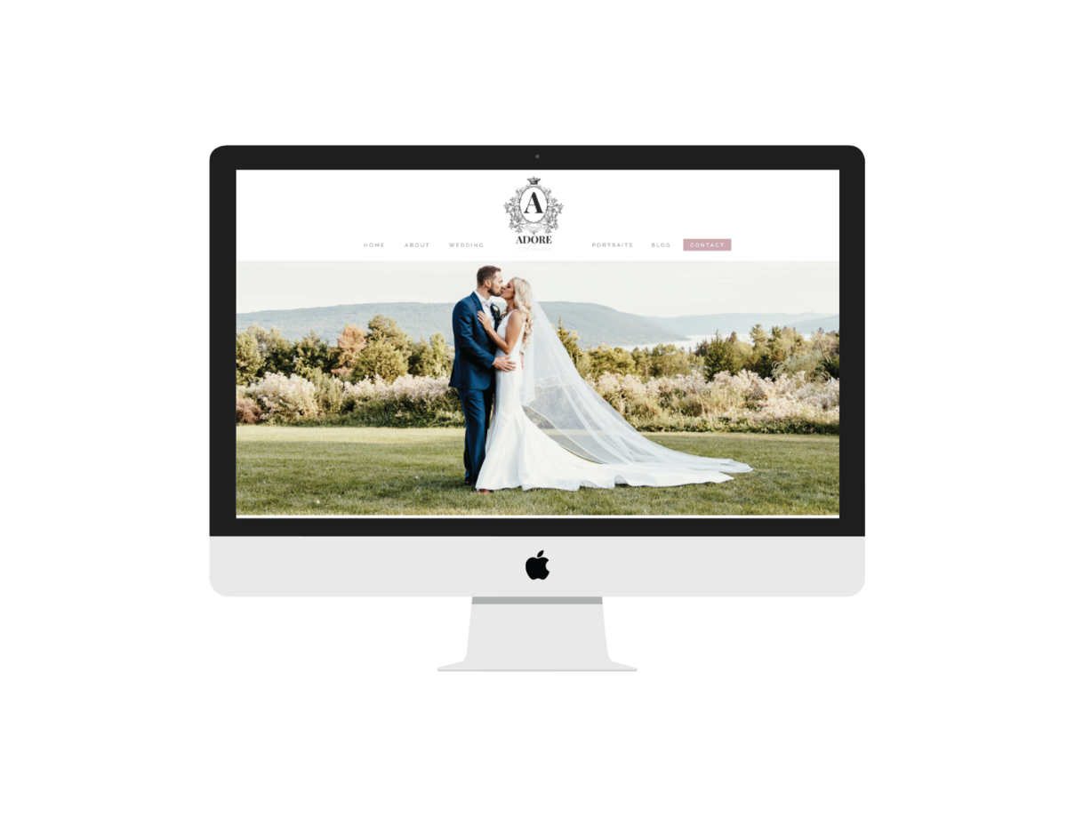 Adore Photo Studio  Showit Website  mockup on iMac Screen