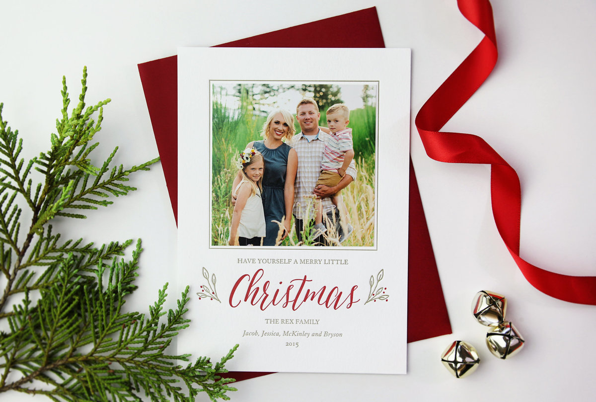 letterpress christmas photo card