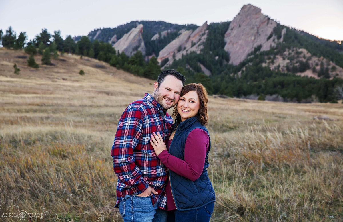 Purple Mountain Chautauqua Park Flatirons in Boulder CO Engagement Photography