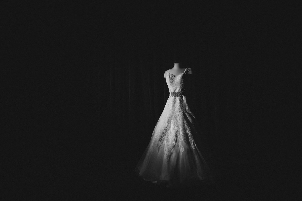 Dramatic Black and white photo of a wedding gown