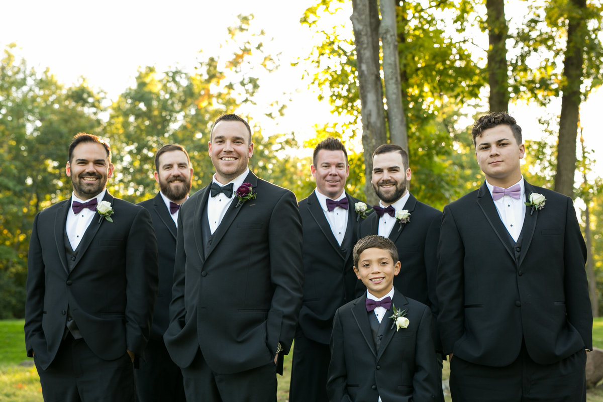 Groom with groomsman outdoor wedding photography, Twin Oaks Golf and Swim Club, Oakland, Michigan, wedding photographer Charlene Gurney