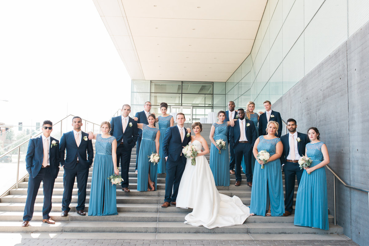 Bridal party at the Figge Art Museum in Downtown Davenport, Iowa
