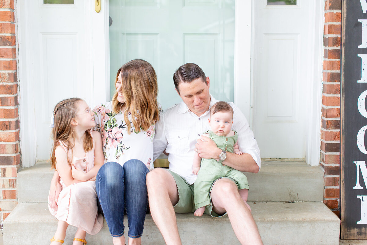 Spring Lifestyle Family  Session on front porch  in St. Louis by Amy Britton Photography Photographer  in St. Louis
