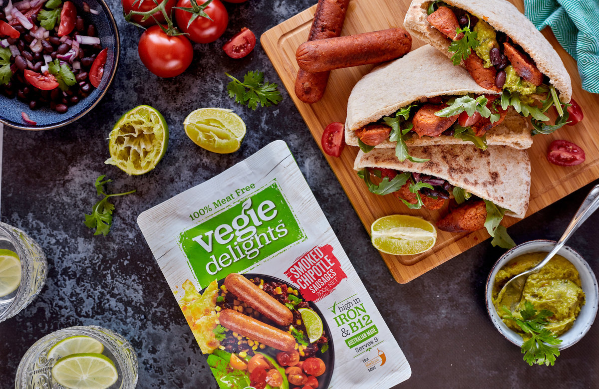 Vegie Delights Mexican Black Bean Pita with Smoked Chipotle Sausages0 2