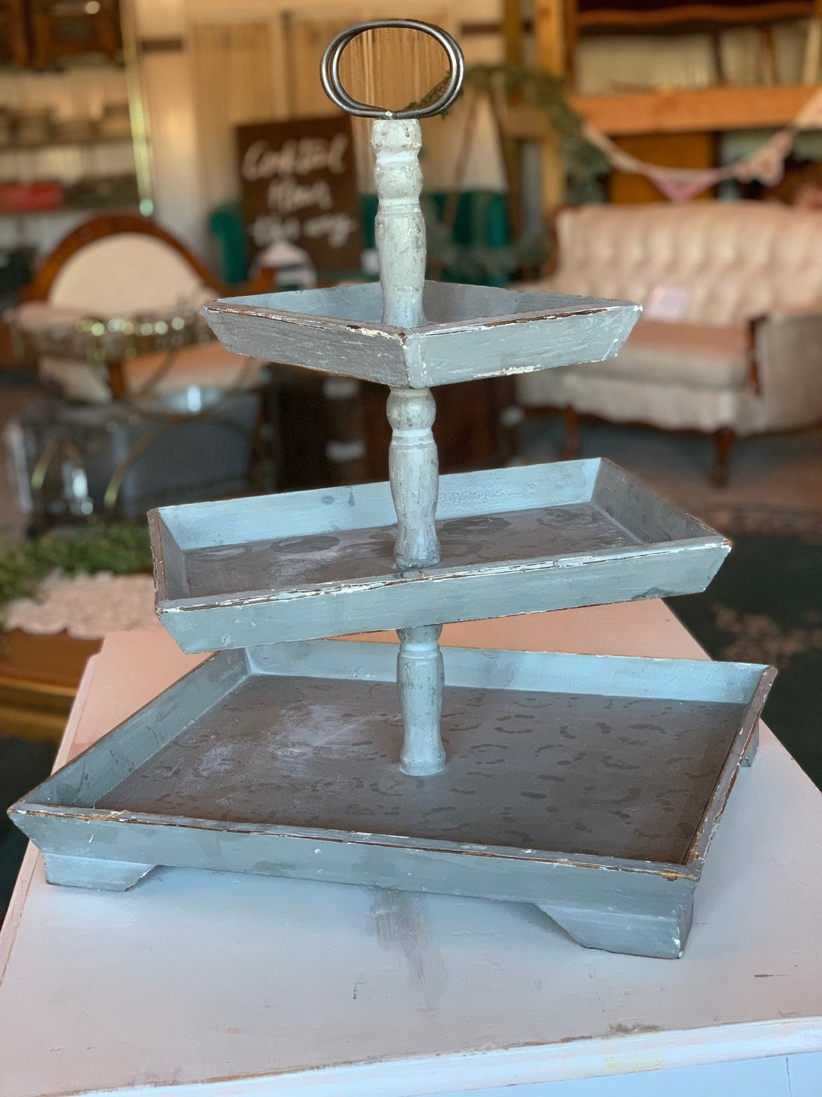 gray three tiered cupcake stand