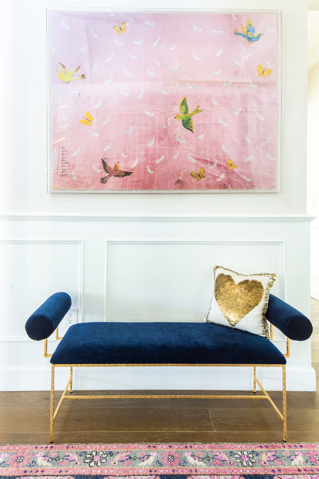 Entry with Worlds Away Miller bench in navy and caitlin Wilson Kismet  rug